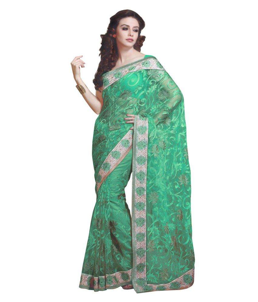 Kalki Fashion Green Net Saree