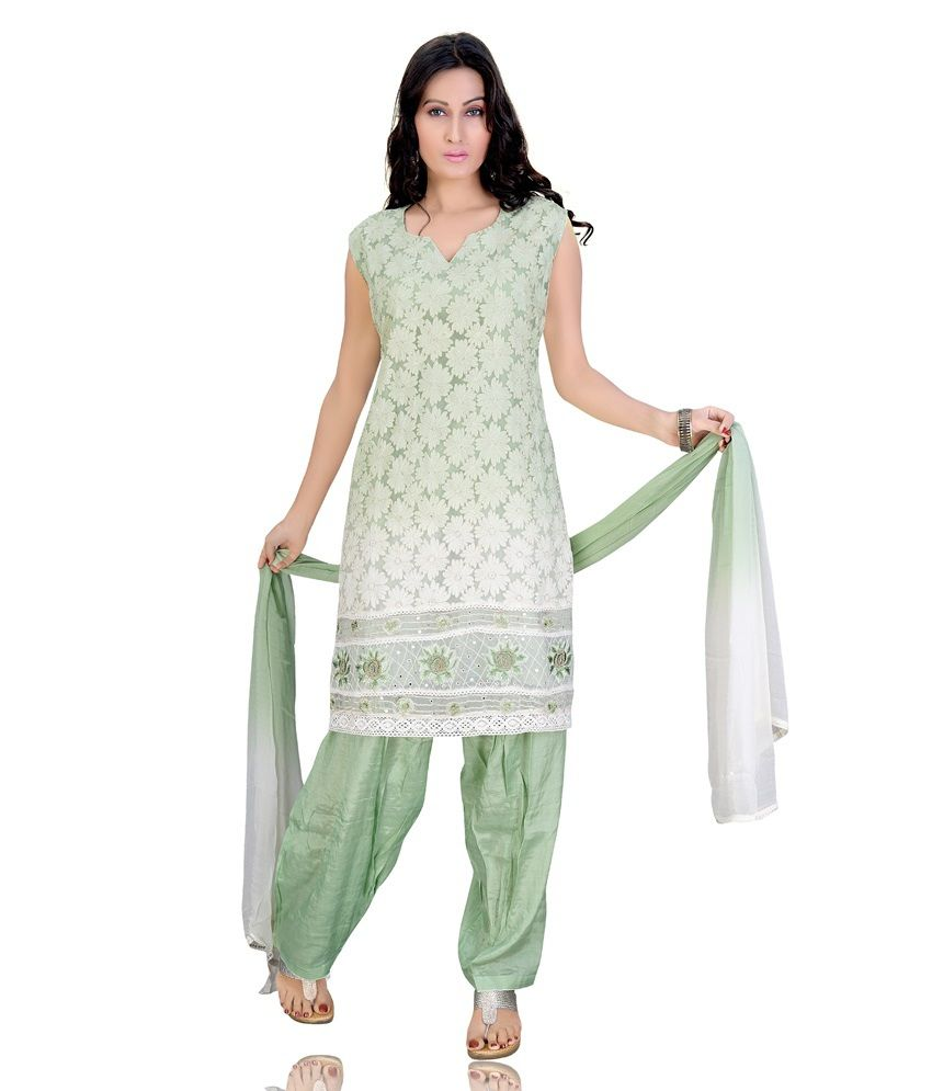Mint Green Color Embroidered Chiffon Stitched Salwar Suit
