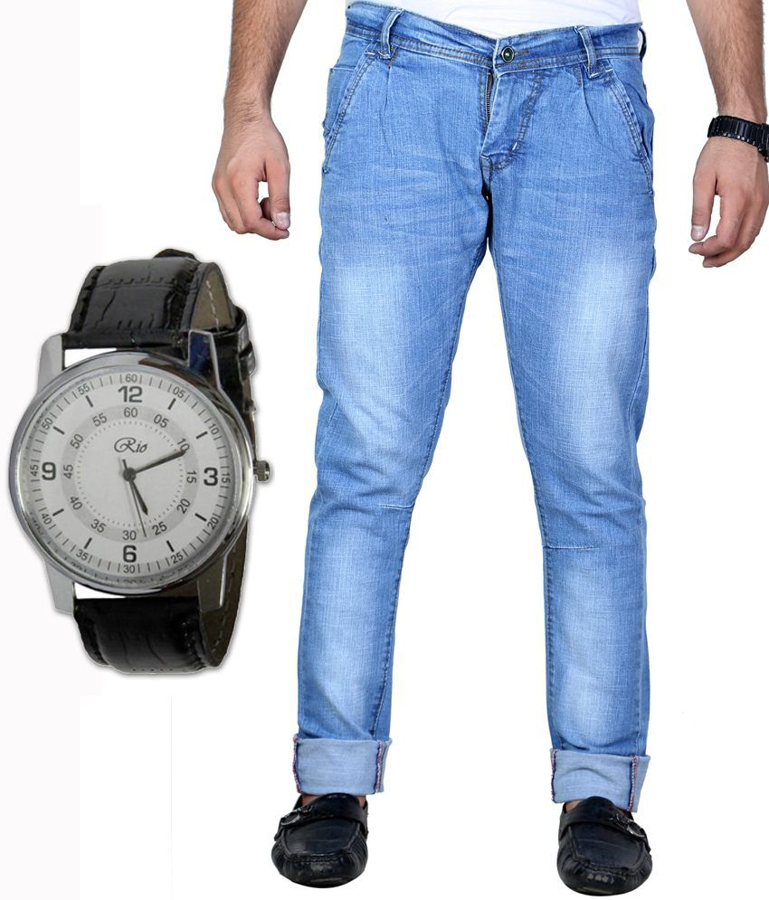 Shade-x Stretchable Blue Jeans With Free Watch