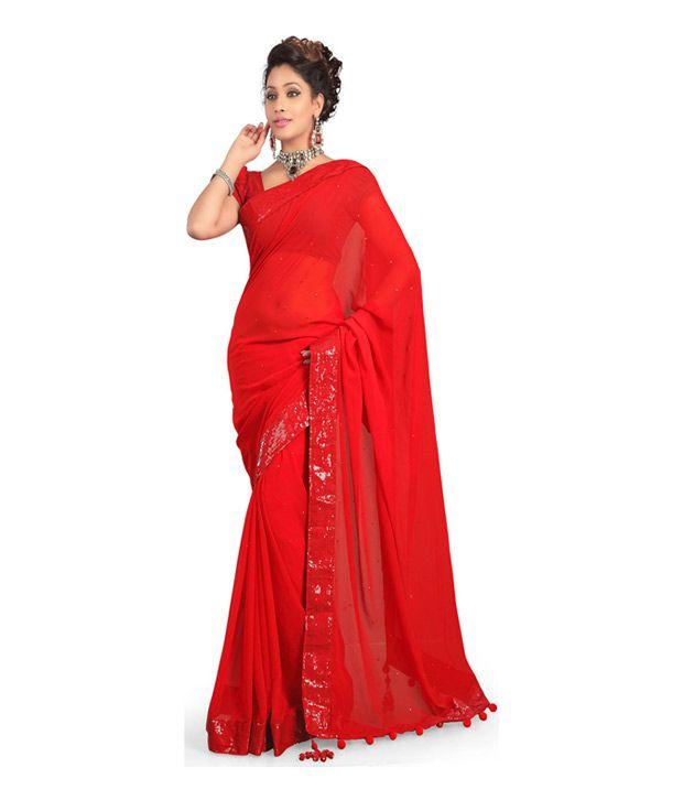 Shree Ramdoot Saree Red Faux Chiffon Saree