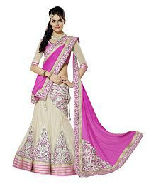 Moh Manthan Beige Embroidered Net Lehenga