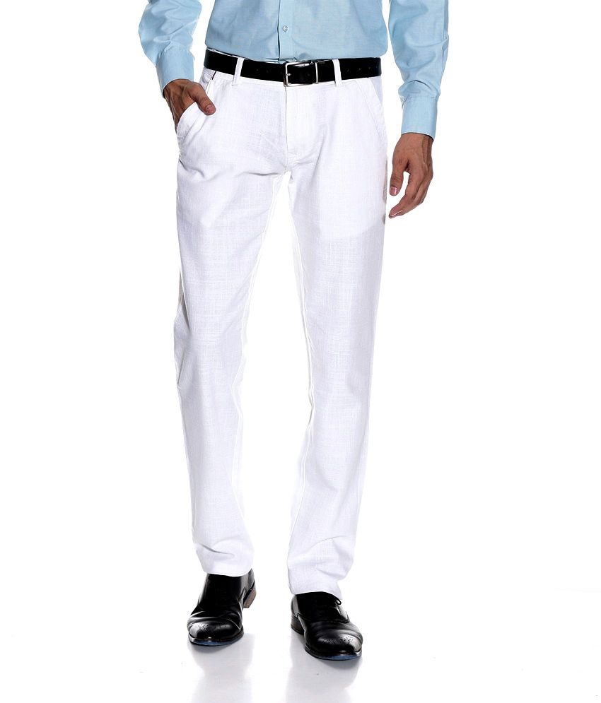LEANA White Regular Casuals TROUSERS