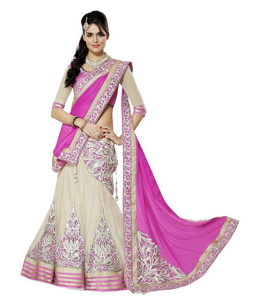43e0a829509 Moh Manthan Pink and Beige Embroidered Net Lehenga - Buy Moh Manthan Pink  and Beige Embroidered Net Lehenga Online at Best Prices in India on Snapdeal