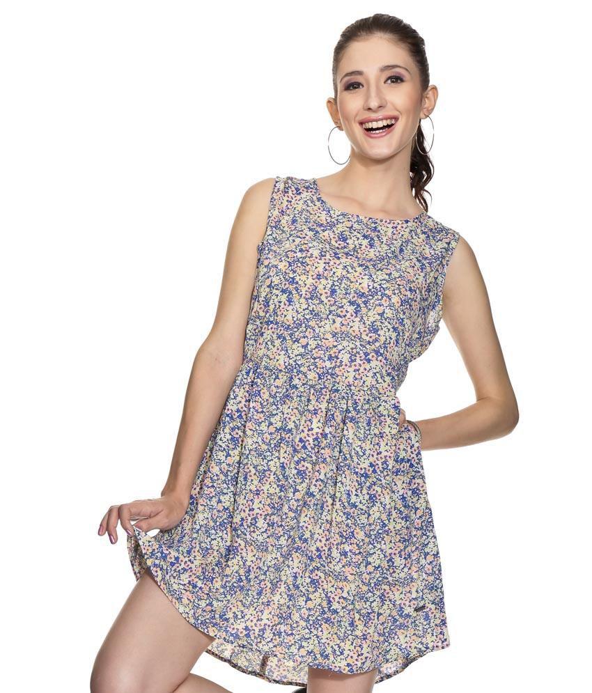 Pepe Blue Printed Georgette Medium Dresses