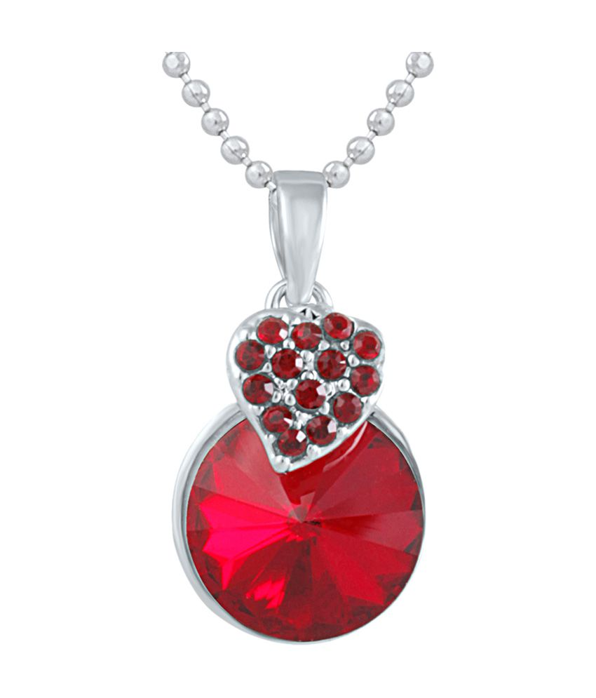 Mahi Made With Swarovski Elements Rhodium Plated Red Pendant With Chain For Women Ps1194089rred