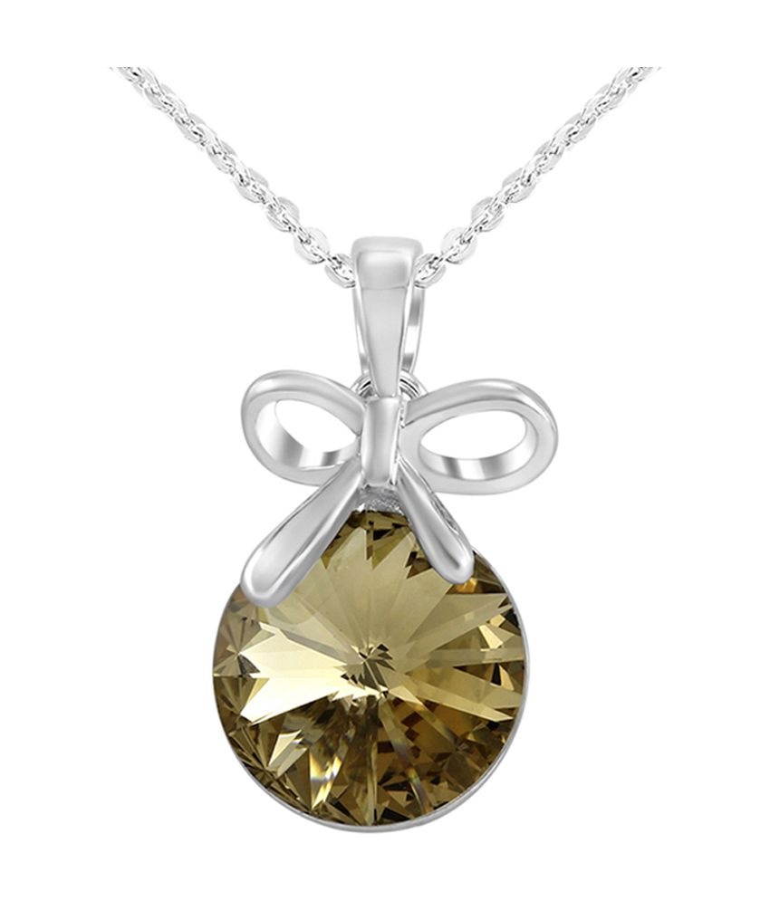 Mahi Made With Swarovski Elements Rhodium Plated Brown Pendant With Chain For Women Ps1194080rbro