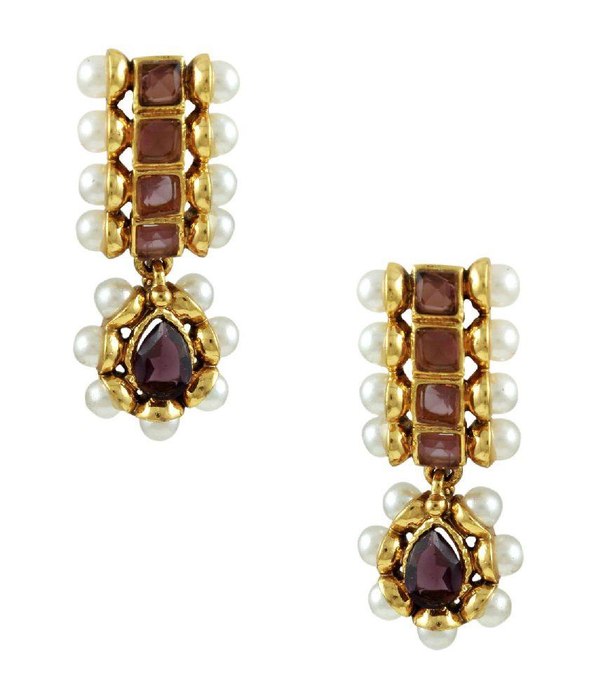 Orniza Delicate Rajwadi Earrings with Pearl in Purple Color Stones