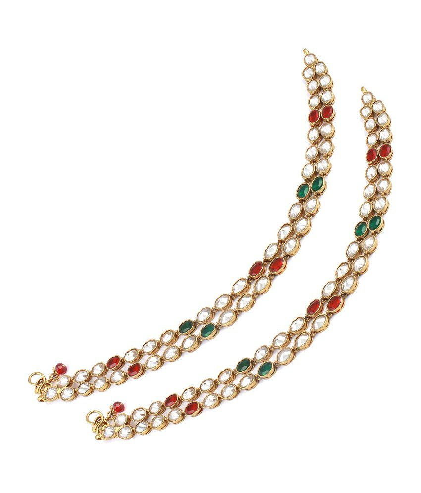 Orniza Two Layered Payal with Red & Green Oval Shaped Reverse AD