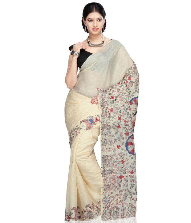 Utsav Fashion White Printed Silk Saree