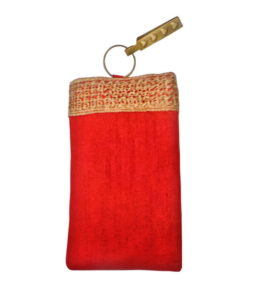 Bhamini Red Velcro Mobile Clutch