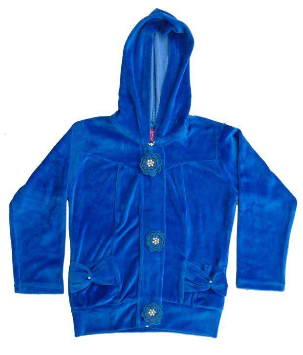 Sweet Angel Blue Color Full Sleeves Hooded Zipper Jacket For Kids