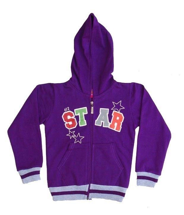 Sweet Angel Purple Color Full Sleeves Star Printed Hooded Zipper Jacket For Kids