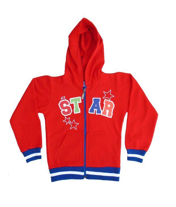 Sweet Angel Red Color Full Sleeves Star Printed Hooded Zipper Jacket For Kids