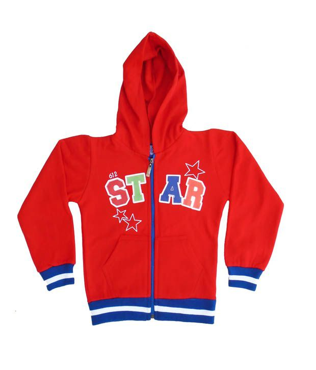Sweet Angel Red Color Full Sleeves Star Printed Hooded Zipper Jacket For Kids