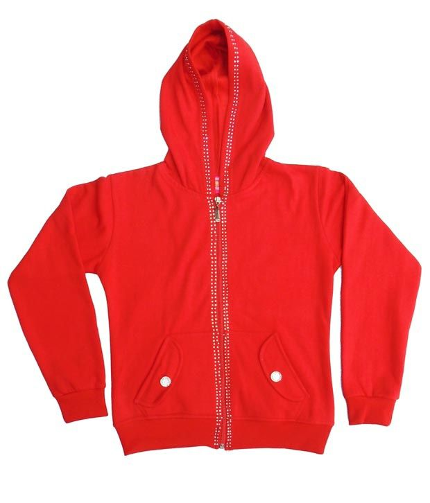 Sweet Angel Red Color Full Sleeves Hooded Zipper Jacket For Kids
