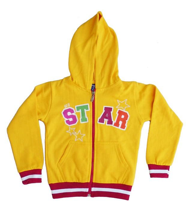 Sweet Angel Yellow Color Full Sleeves Star Printed Hooded Zipper Jacket For Kids