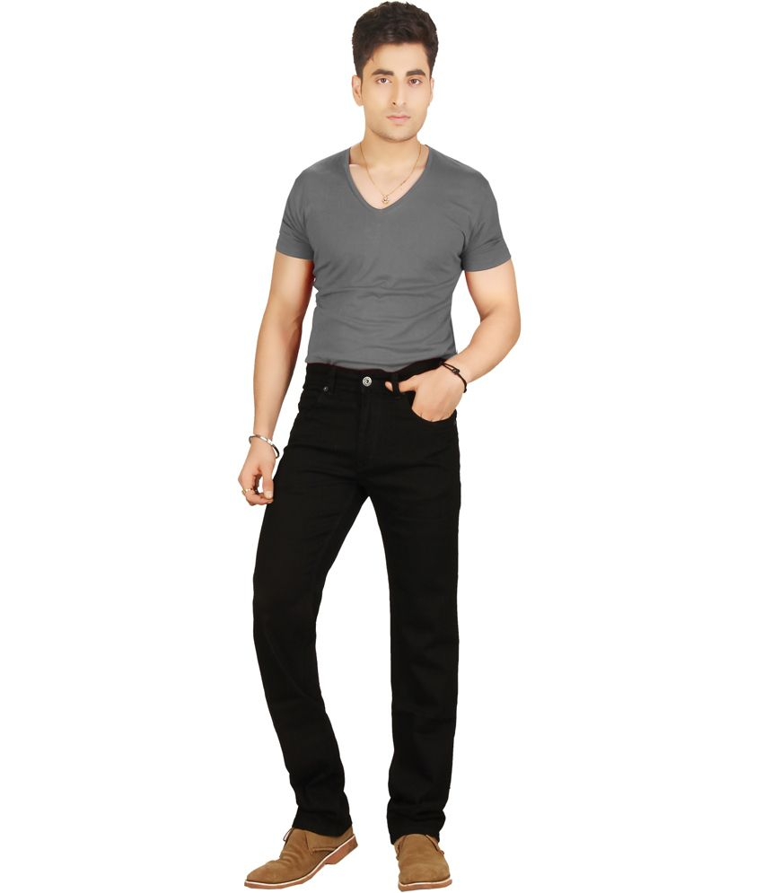 Warewell Black Regular Fit Mid Rise Denim Jean For Men