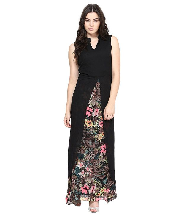 7c0a7efb2fa8 Athena Black Georgette Maxi Dress - Buy Athena Black Georgette Maxi Dress  Online at Best Prices in India on Snapdeal