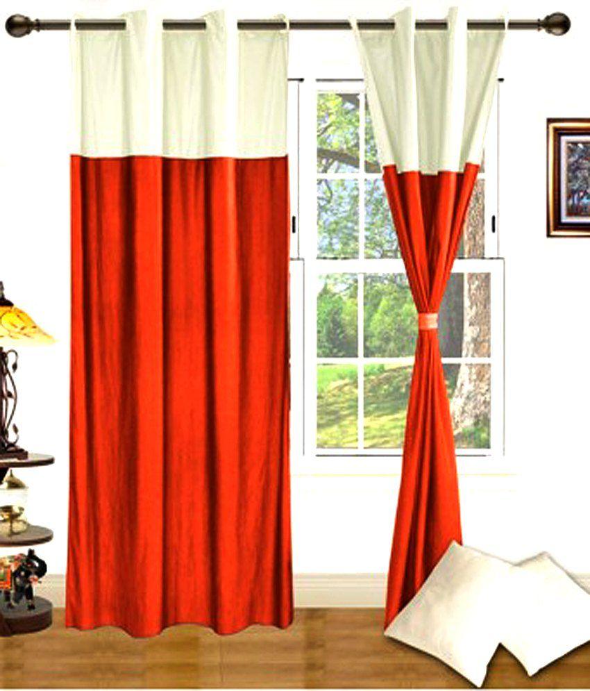 Iws Orange White Plain Polyester Eyelet Curtains 2 Pcs Buy Iws Orange White Plain