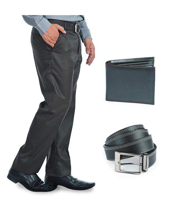 BLE Brown Trouser, Wallet & Belt Combo