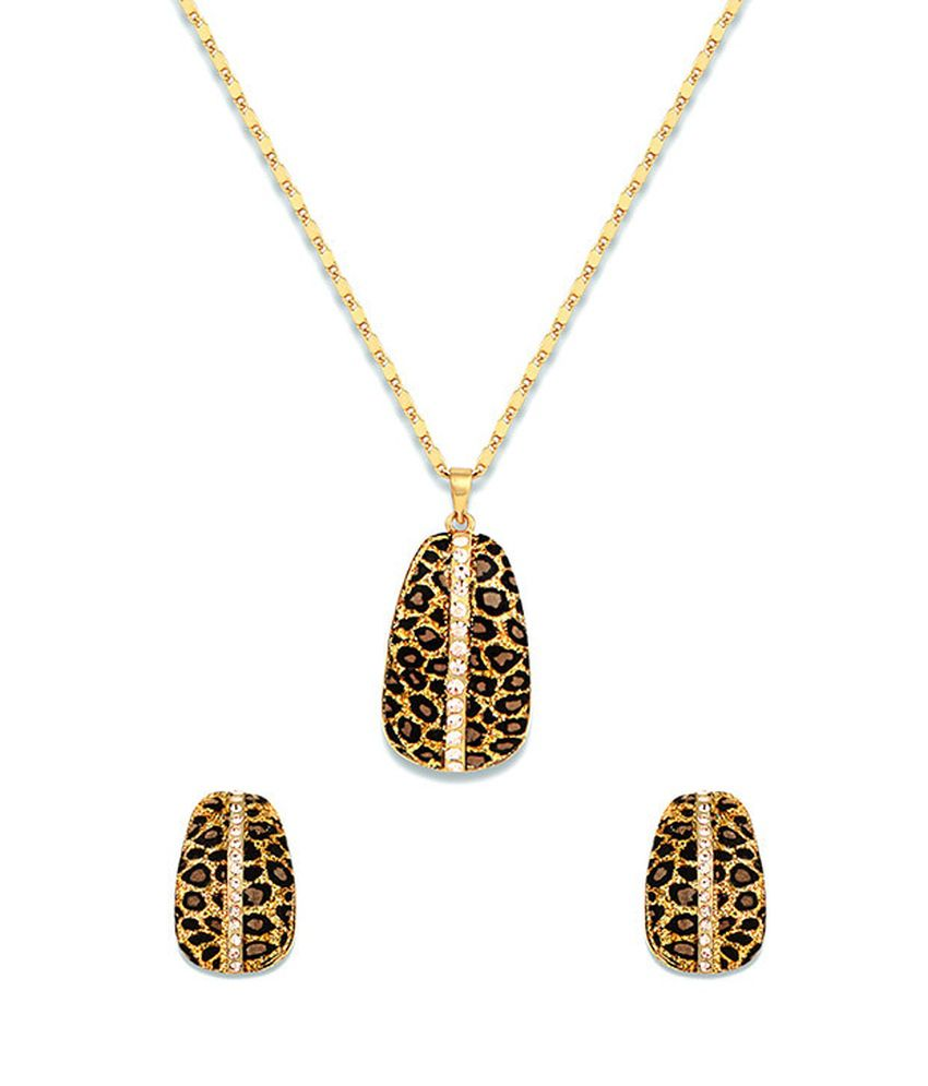 Just Women Gold Animal Appeal Crystal Adorned Necklace Set