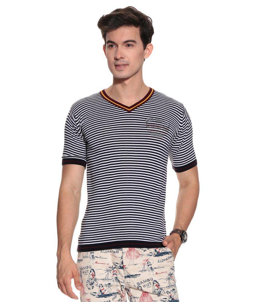 W & T Black Cotton T-shirt