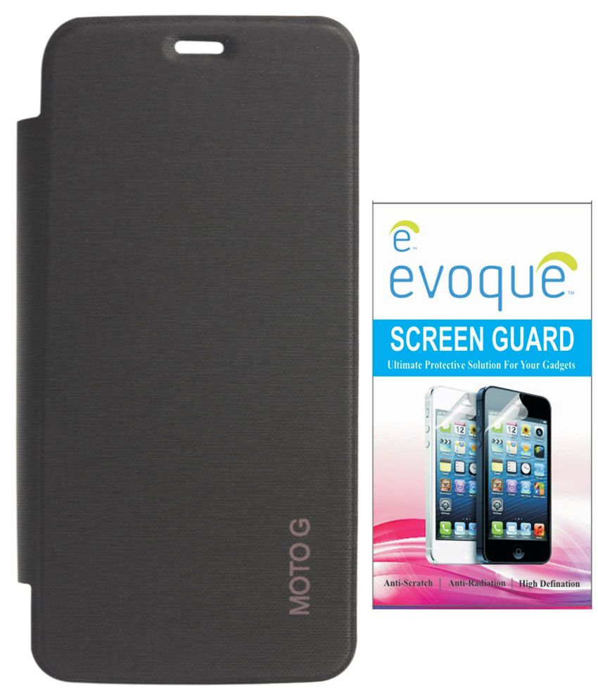on sale a6ca2 ce30b Evoque Flip Cover For Motorola Moto G 1st Gen With Screen Guard - Black
