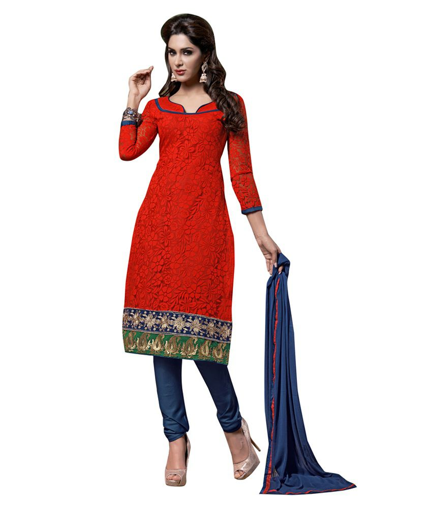 Lookslady Red Net Embroidered Regular Dress Material