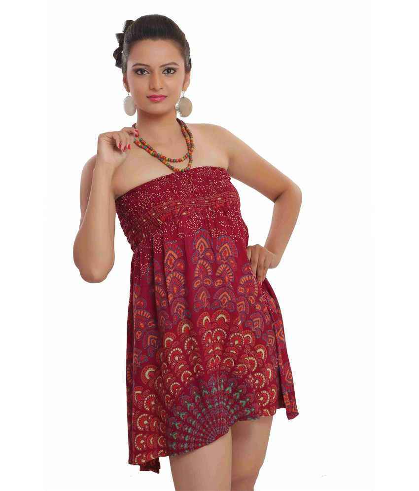 Indi Bargain Rayon Rajasthani Mandala Hand Block Printed Tube Top or 2 in 1 dress/skirt