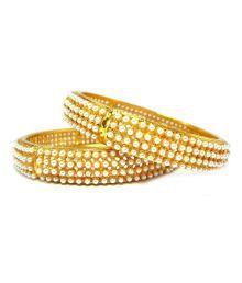 Aria Stylish Gold Plated 2pc Pearl Cz Kada