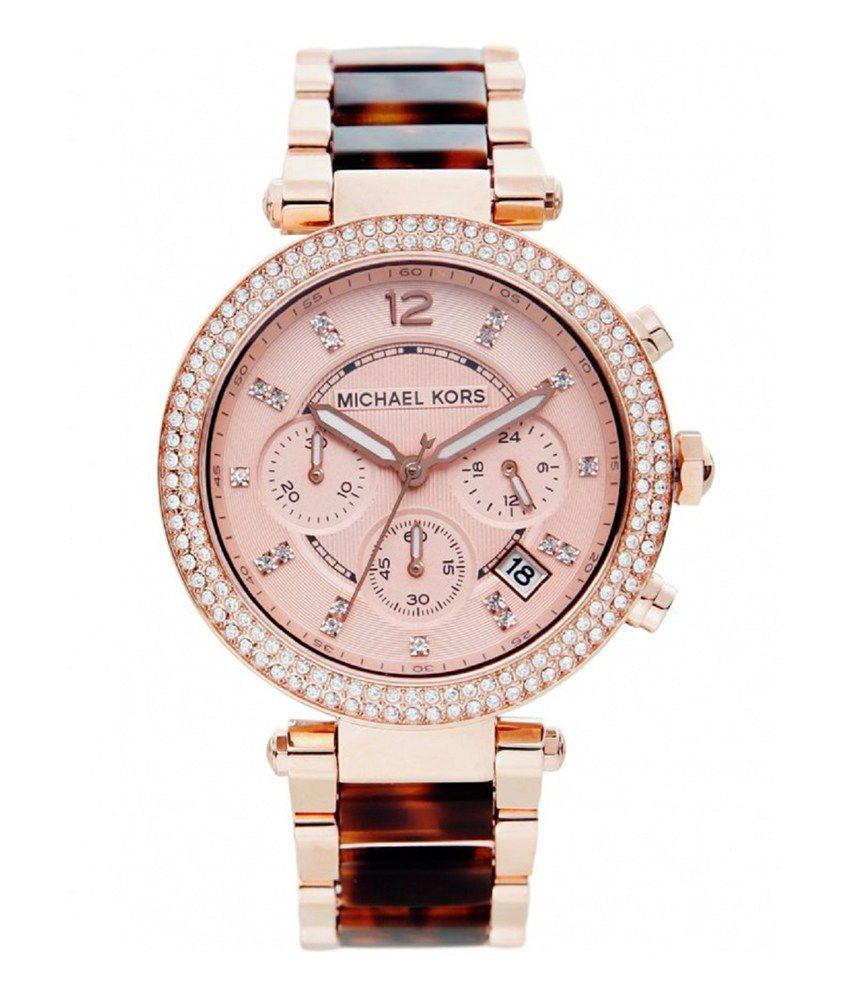 6049b711147d Michael Kors Women S Chronograph Parker Tortoise Acetate And Rose Gold-Tone  Stainless Steel Bracelet Watch 39Mm Mk5538 Price in India  Buy Michael Kors  ...