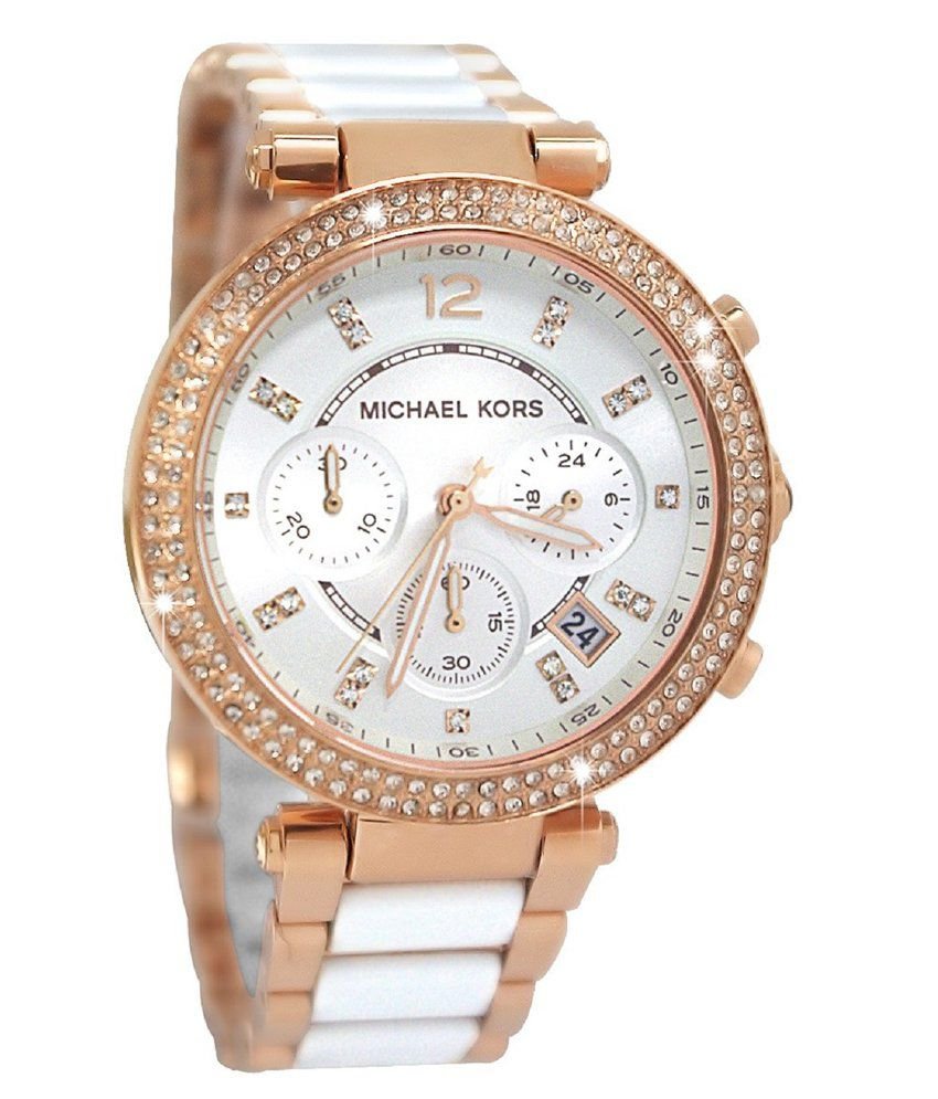 b3081cd1a307 Michael Kors Women S Chronograph Parker White Acetate And Rose Gold-Tone  Stainless Steel Bracelet Watch 39Mm Mk5774 Price in India  Buy Michael Kors  Women S ...