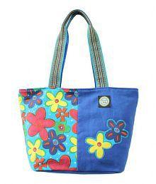 Anekaant Flora Blue Canvas Tote Bag