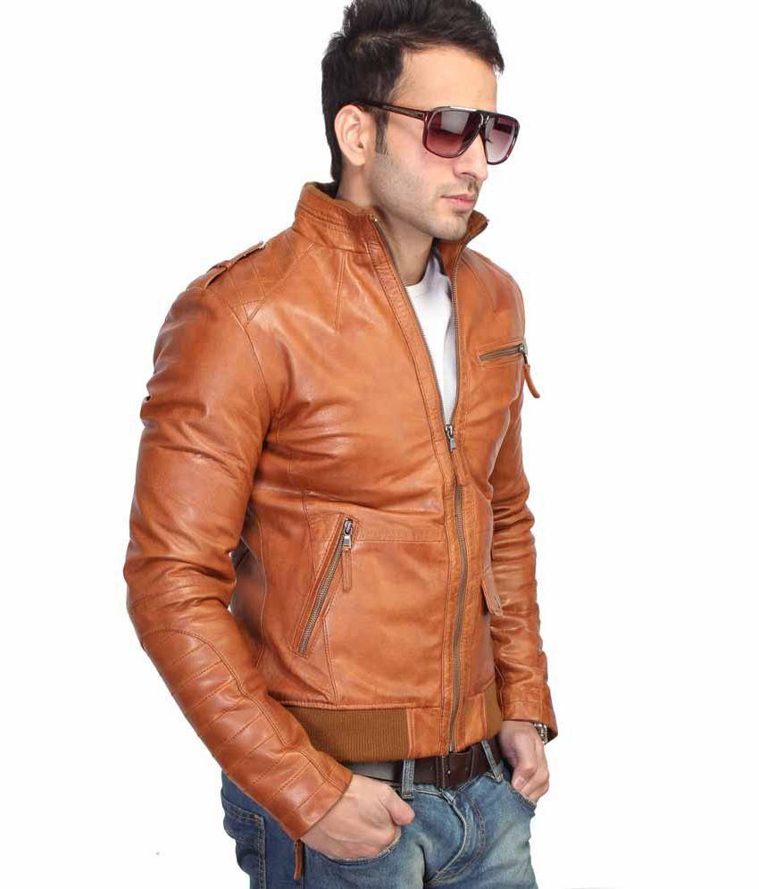 Leather jacket india -  Bareskin New Slim Fit Tan 100 Leather Jacket