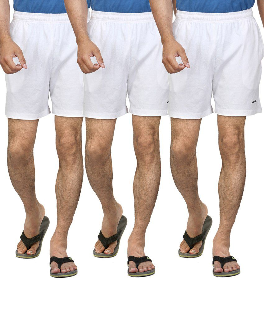 Dazz Gear White Polyester Solids Shorts (pack Of 3)
