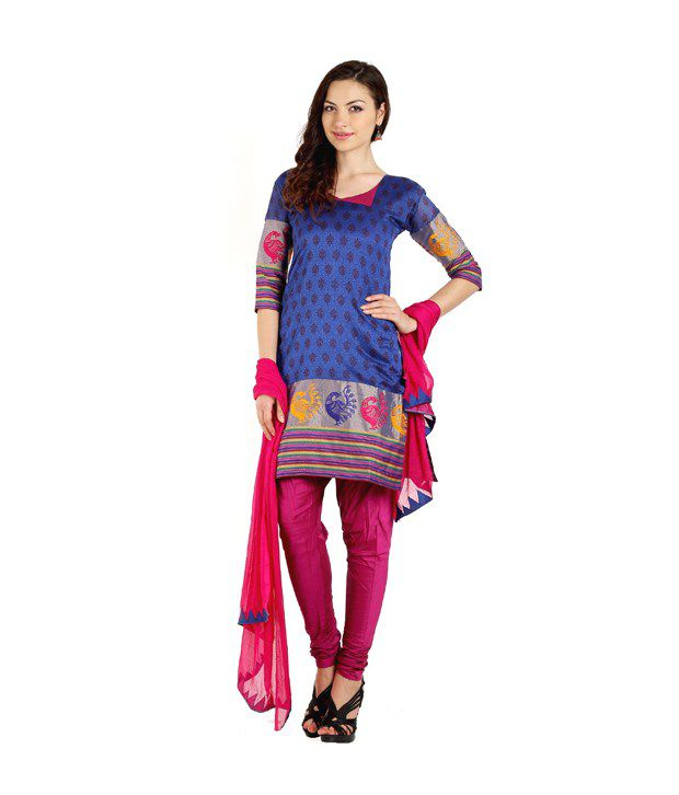 Aaboli Blue Printed Art Crepe Dress Material With Dupatta