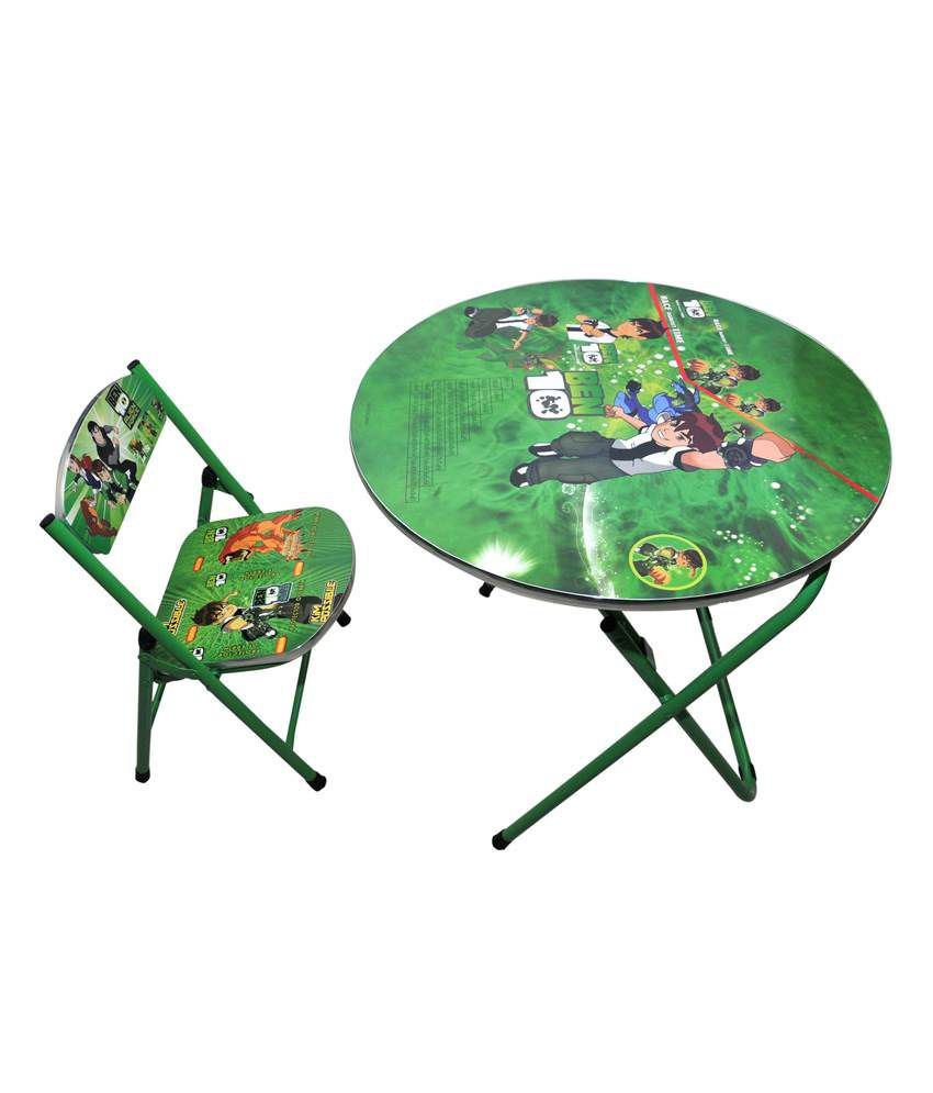 Happy Kids Foldable Study Table And Chair - Round - Ben 10 (green) - Buy Happy Kids Foldable Study Table And Chair - Round - Ben 10 (green) Online at Low Price - Snapdeal