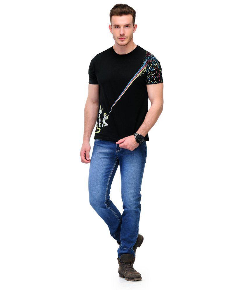 Slingshot New Men's Cmyk Splash Black Printed Cotton Tshirt