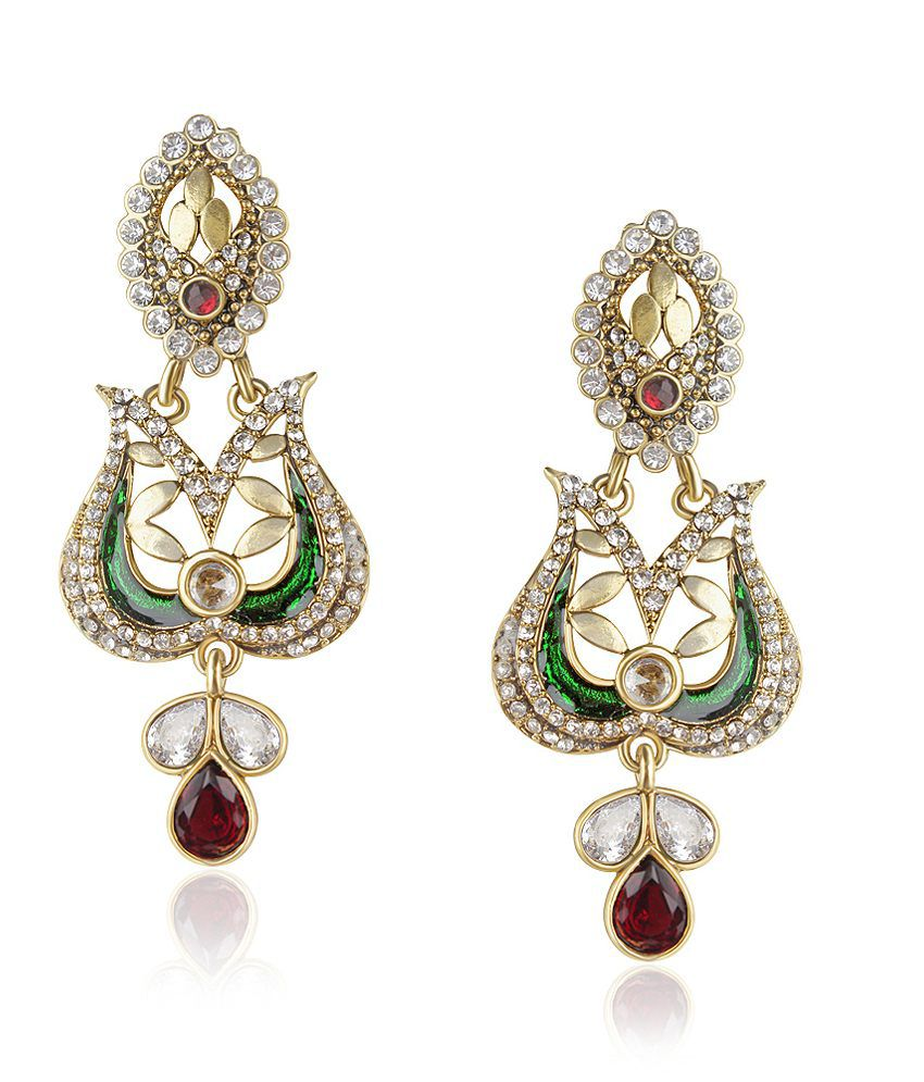 Vk Jewels Multi Colour Dew-drop Earring Set