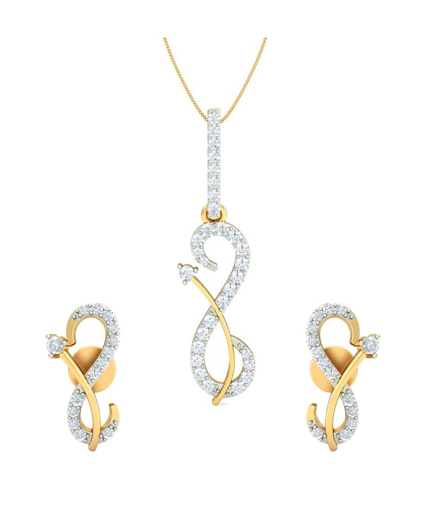 Diamondtine Contemporary 14kt Gold Multi Line Pendant Set