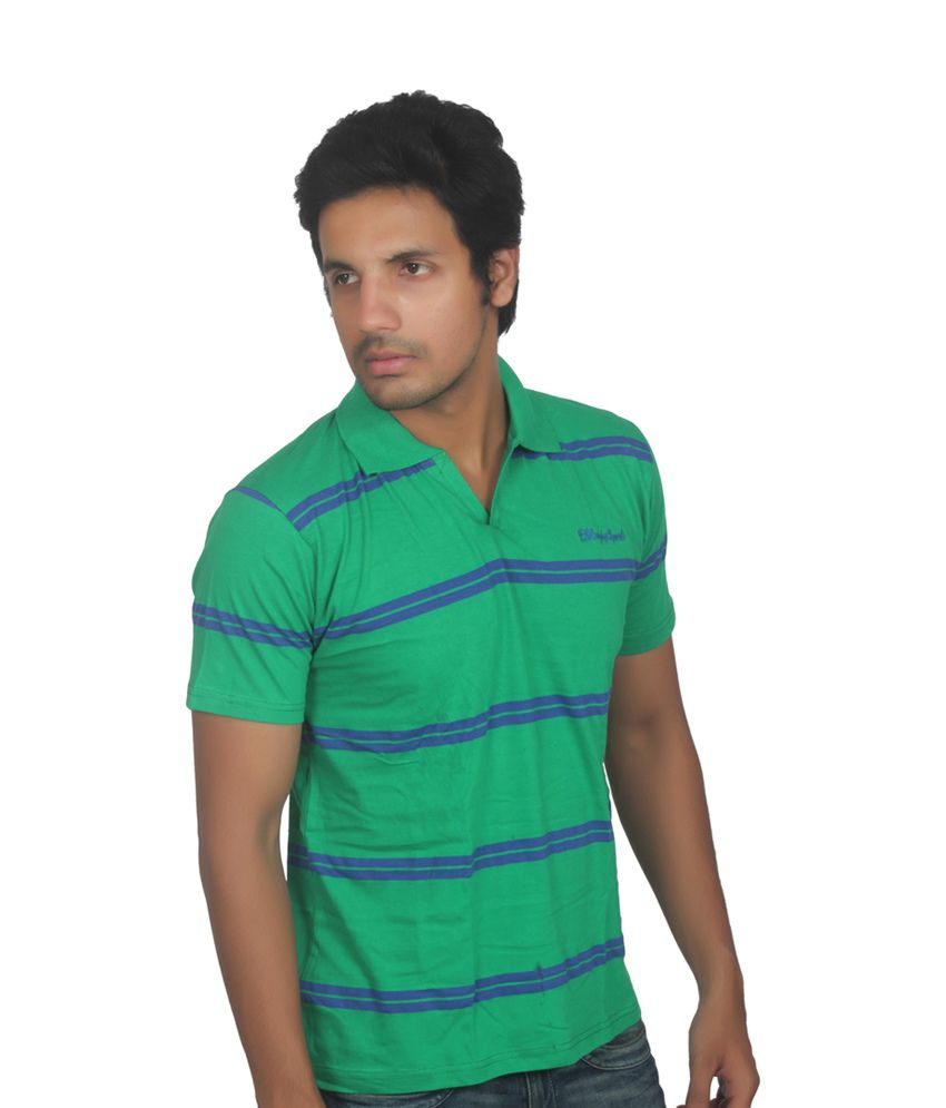 Fanatic Green With Blue Cotton Half Sleeves T-shirt
