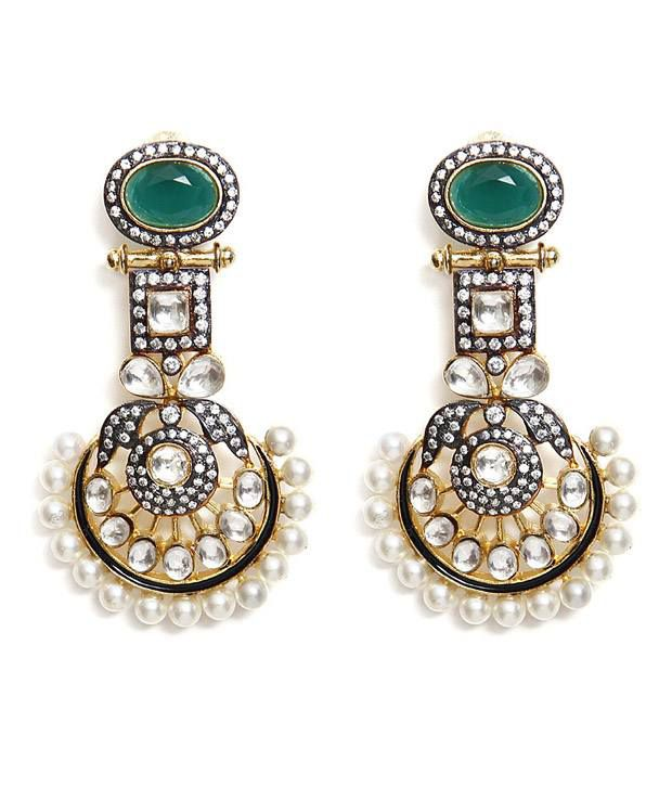 Aradhyaa Jewel Arts Silver And Green Gold Plated Earrings