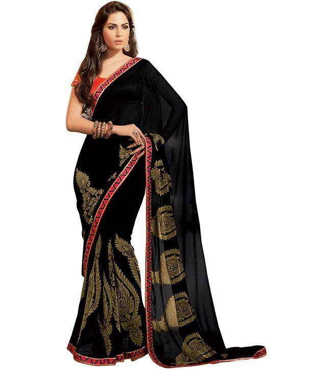 aaf422289c55cc Cbazaar Black Embroidered Faux Georgette Saree With Blouse Piece - Buy  Cbazaar Black Embroidered Faux Georgette Saree With Blouse Piece Online at  Low Price ...