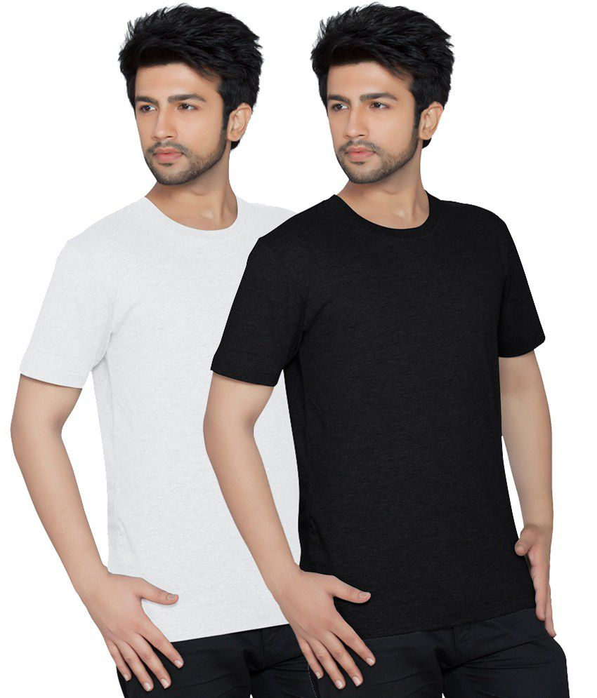 Texfit Men's White & Black Round Neck T Shirts - Pack Of 2