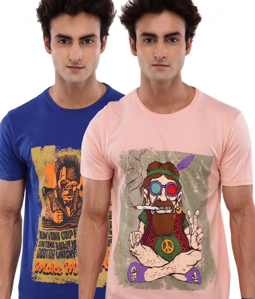 Wineberry Peachpuff And Blue Cotton Graphic Printed T-shirt - Pack Of 2
