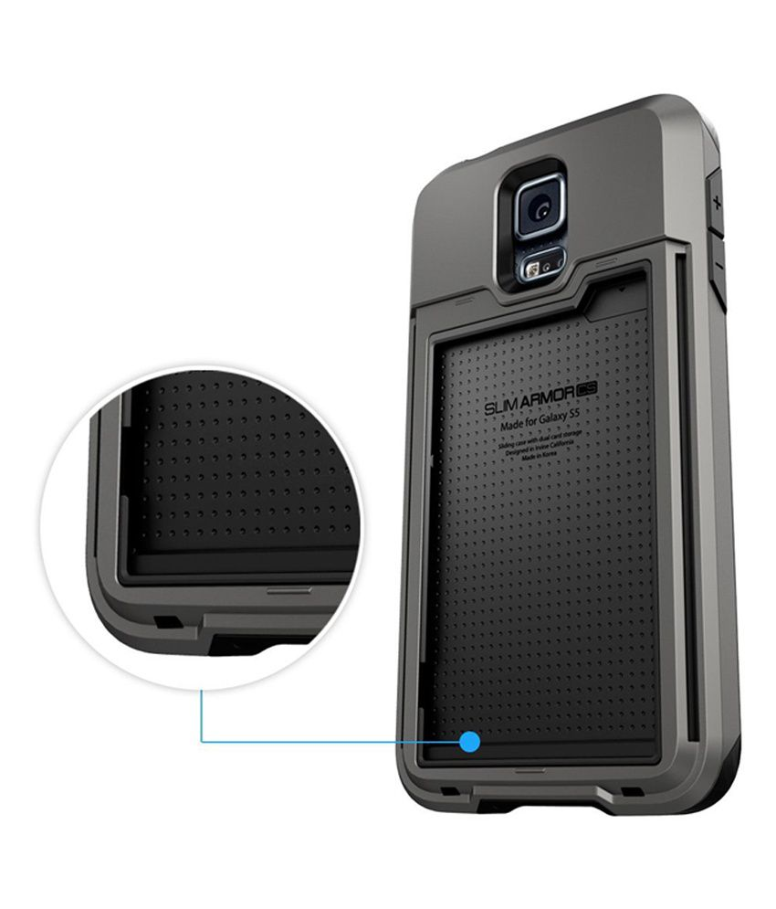 online store 5fd09 f8924 Spigen Samsung Galaxy S5 Case Cover Slim Armor CS - CARD SLOT Wallet (Gun  Metal)