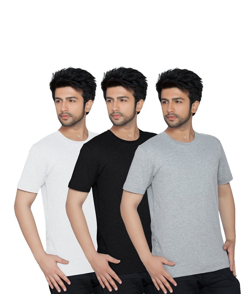 Texfit Multi Color Cotton Basics Half Sleeves T-shirt- Pack Of 3