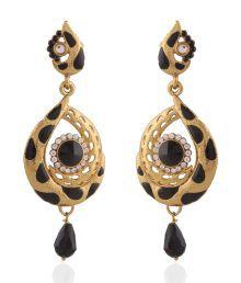 I Jewels Black Style Diva Hanging Earrings