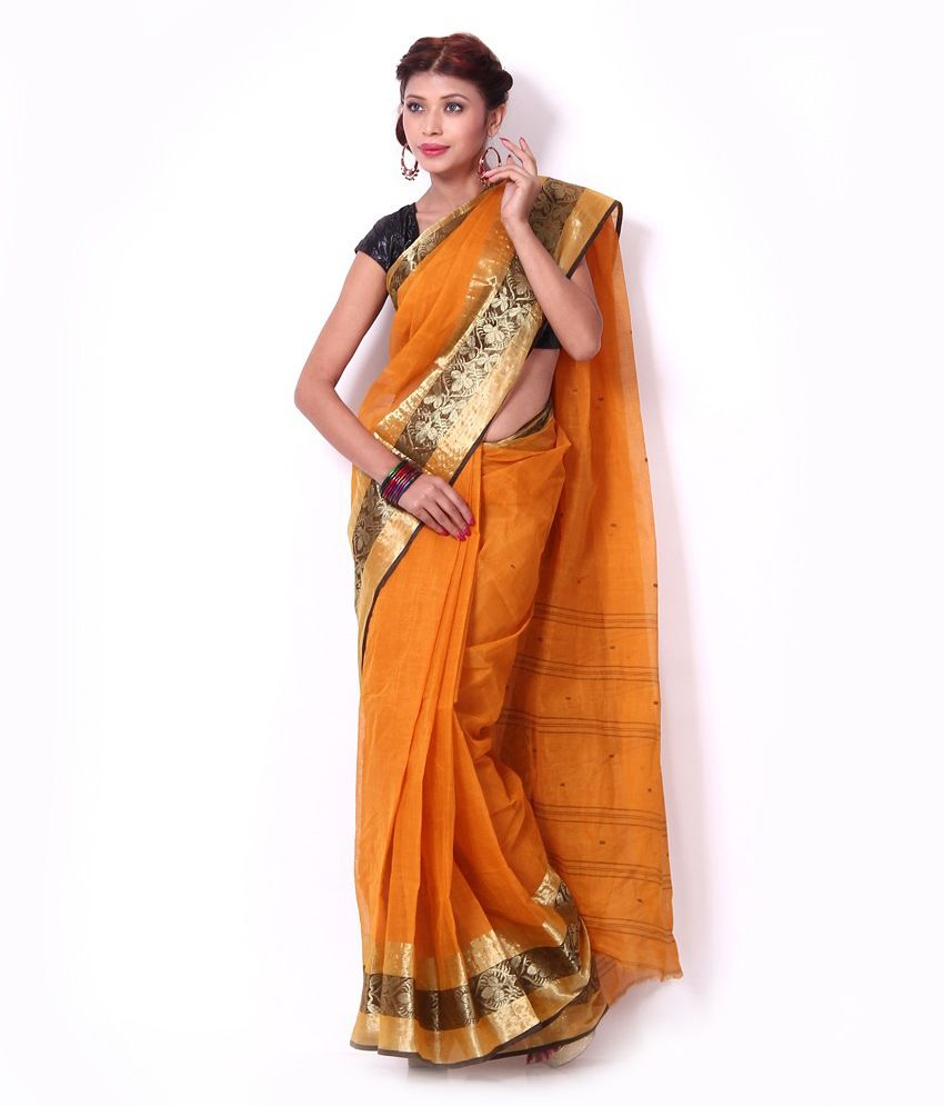 ANUPAMA Yellow Cotton Bengal Tant Saree