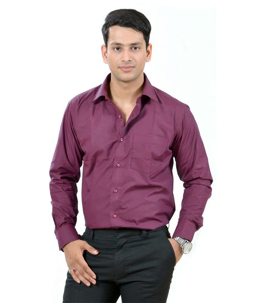 Dennison Maroon Black Checkred Shirt